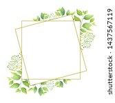 green leaves geometric frame...   Shutterstock .eps vector #1437567119