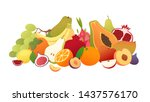 set of fruits with their slices.... | Shutterstock .eps vector #1437576170
