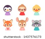 set of pretty little animal...   Shutterstock .eps vector #1437576173