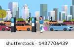 girl driver paying to parking...   Shutterstock .eps vector #1437706439