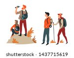 couples hiking man and woman... | Shutterstock .eps vector #1437715619