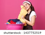 indoor studio shot of adorable... | Shutterstock . vector #1437752519