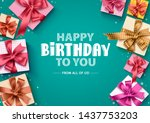 happy birthday gift boxes... | Shutterstock .eps vector #1437753203