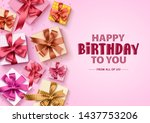 happy birthday gift boxes...   Shutterstock .eps vector #1437753206