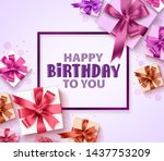 happy birthday greeting card... | Shutterstock .eps vector #1437753209