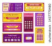 Stock vector gambling and winning money lottery tickets lucky scratch bingo vector paper leaflets with numbers 1437770480