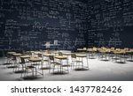 Dark classroom interior with furniture and mathematical formulas on wall. Math and complex algorithm concept. 3D Rendering  - stock photo