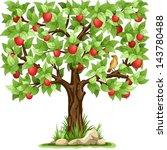 Cartoon Apple Tree Isolated On...