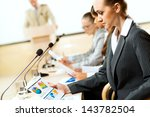 businessmen communicate at the... | Shutterstock . vector #143782504