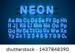 neon city color blue font.... | Shutterstock .eps vector #1437848390