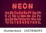 neon city color red font.... | Shutterstock .eps vector #1437848393