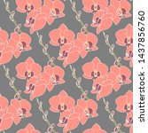 seamless pattern with orchid... | Shutterstock .eps vector #1437856760