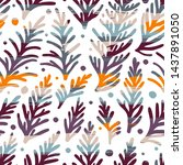 seamless pattern with branches... | Shutterstock .eps vector #1437891050