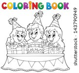 coloring book kids party theme... | Shutterstock .eps vector #143790949