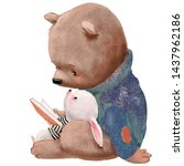 Cute Bear With Little Hare And...