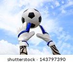soccer goalkeeper's hands... | Shutterstock . vector #143797390