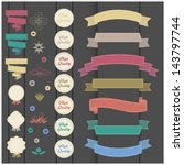set of retro ribbons and labels | Shutterstock .eps vector #143797744