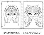 Vector coloring portraits of girls in horsewoman and leopard fantasy make up