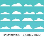 cloud collection with flat... | Shutterstock .eps vector #1438124030