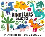 Set Of Isolated Cute Dinosaurs...