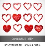 set of red grunge hearts....