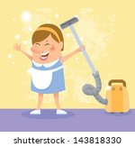 cleaning woman | Shutterstock .eps vector #143818330