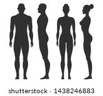 man and woman silhouettes.... | Shutterstock .eps vector #1438246883
