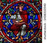 Small photo of Paris, France - Februari 10, 2019: Stained Glass in the Cathedral of Notre Dame, Paris, France, depicting King Solomon as part of the Tree of Jesse, the ancestors of Jesus Christ