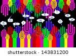 happy group of finger smileys...   Shutterstock . vector #143831200