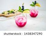 sparkling blueberry lemonade...   Shutterstock . vector #1438347290