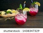 sparkling blueberry lemonade...   Shutterstock . vector #1438347329