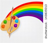 wooden art palette with paints...   Shutterstock .eps vector #143835013