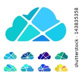 Design blue cloud logo element. Crushing abstract pattern. Colorful icons set.