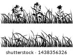 silhouette flowers and grass ... | Shutterstock .eps vector #1438356326