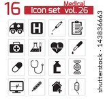 vector black medical icon set | Shutterstock .eps vector #143836663