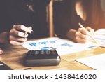 attractive teamwork discuss and ... | Shutterstock . vector #1438416020