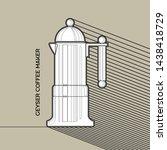 geyser coffee maker line icon.... | Shutterstock .eps vector #1438418729