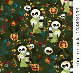halloween seamless texture with ... | Shutterstock .eps vector #143844514