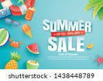 summer sale with decoration... | Shutterstock .eps vector #1438448789
