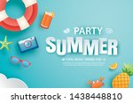 summer party invitation banner... | Shutterstock .eps vector #1438448810