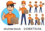 cartoon courier young man... | Shutterstock .eps vector #1438473146
