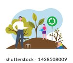 Reforestation concept illustration. Planting trees and sustainable energy poster asset.