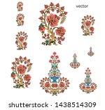 mughal  flower  motif bunch ... | Shutterstock .eps vector #1438514309