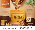 Premium Nuts Ads On Wooden...