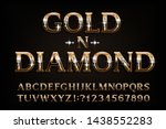 gold n diamond alphabet font.... | Shutterstock .eps vector #1438552283