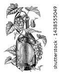 grapes twing in wine bottle... | Shutterstock .eps vector #1438555049