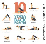 infographic of 10 yoga poses... | Shutterstock .eps vector #1438562876