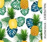 pineapple seamless pattern...   Shutterstock .eps vector #1438567496