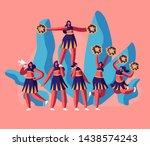 cheerleaders team in uniform... | Shutterstock .eps vector #1438574243