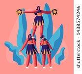 cheerleaders team in uniform... | Shutterstock .eps vector #1438574246
